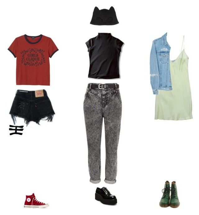 """""""Gotham City Sirens"""" by dollygirlluv ❤ liked on Polyvore featuring River Island, Silver Spoon Attire, Steve Madden, Levi's, Monki, Converse, Blumarine, Acne Studios and Dr. Martens"""