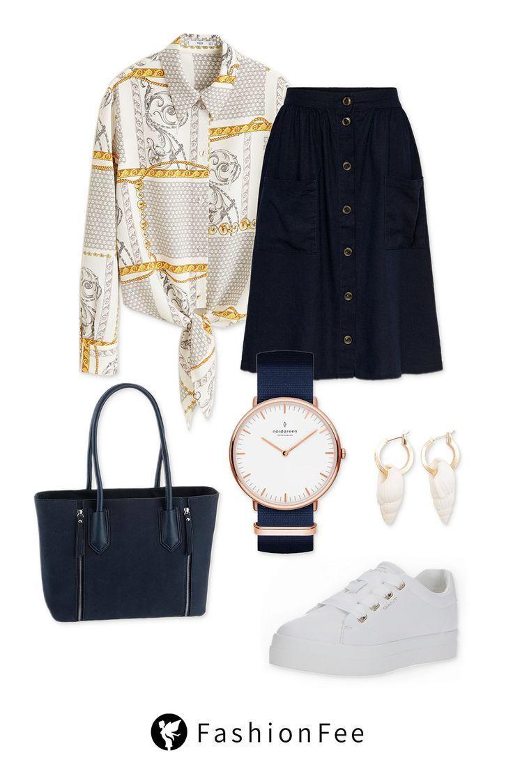 Casual Chic Outfit mit marineblauem Midirock, Blus…