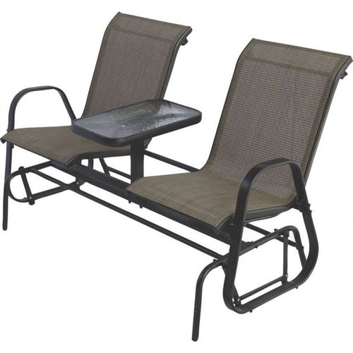 2-Person Patio Glider Chairs with Console Table