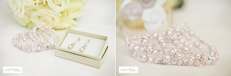 Elizabeth de Varga pearl earrings and Swarovski crystal and pearl 'Buffy' bracelet