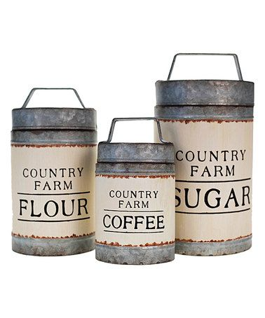 Another great find on #zulily! Coffee, Sugar & Flour Canister Set #zulilyfinds