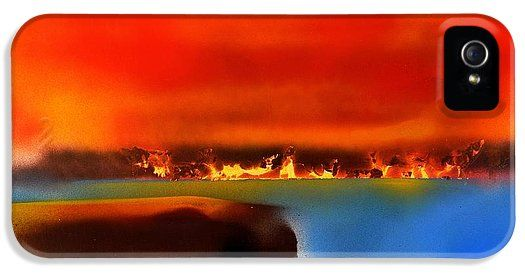 Burning Shore IPhone 5 / 5s Case Printed with Fine Art spray painting image Burning Shore by Nandor Molnar (When you visit the Shop, change the orientation, background color and image size as you wish)