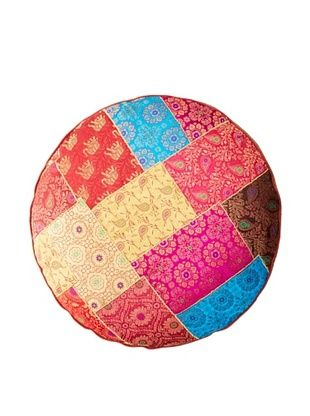 50% OFF Found Objects Round Patchwork Brocade Pillow