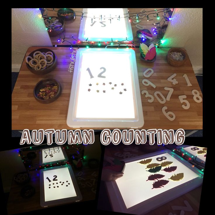 Autumn light panel. Wooden numbers, leaf confetti, foam leaves and pumpkin seeds.
