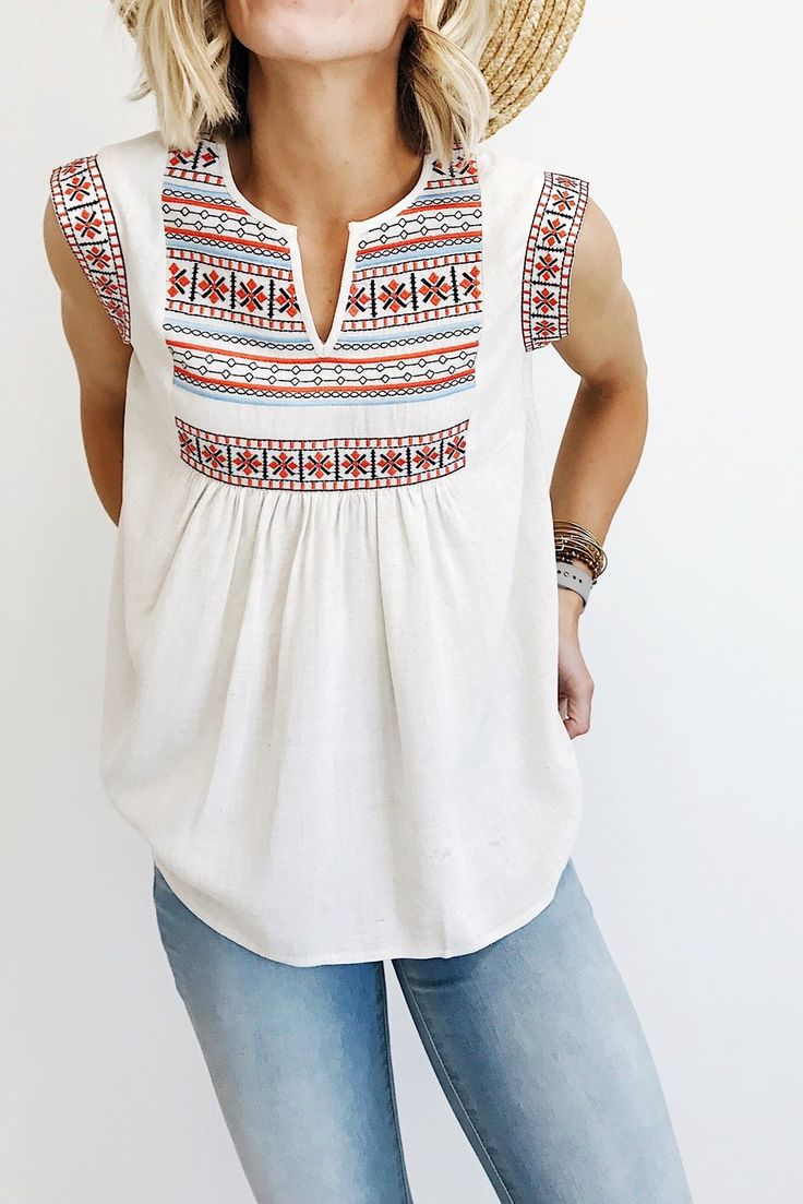 """Natural Linen Blouse  Embroidered Detail on Sleeve + Front Panel  V-Neck Cut  Gathered Babydoll Hem  Model is 5'6"""" + Wearing a Small"""