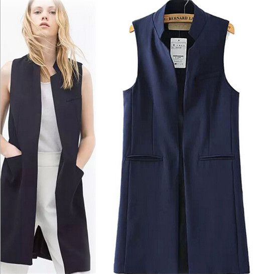 This picture is better, but it does come in white. Women New Arrival Long Vest Jacket Casual Fashion Office Wear Open Stitch Waistcoat Outwear For Summer Spring Autumn 2015 -in Vests & Waistcoats from Women's Clothing & Accessories on Aliexpress.com | Alibaba Group
