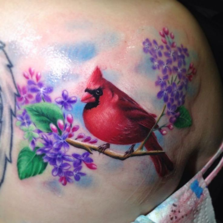 watercolor flower tattoo | Red bird with flower tattoo