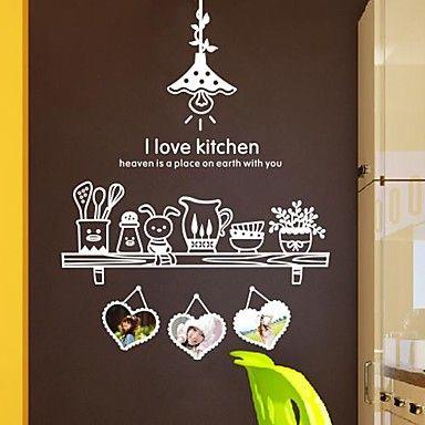 pegatinas de pared etiquetas de la pared, moderno amo los cocina pvc pegatinas de pared – MXN $ 422.58