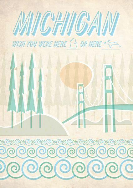 Michigan postcard: Frames, Colors, Heart Michigan, Sweet Michigan, House, Michigan Art, Michigan Postcards, Detroit, Pure Michigan
