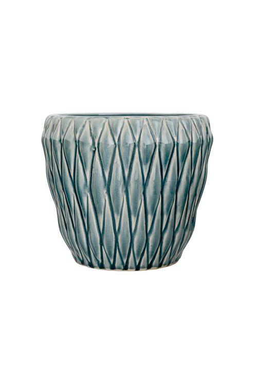 Blomkruka i keramik, blå med räfflat mönster, dia21xH18 cm. <br><br>