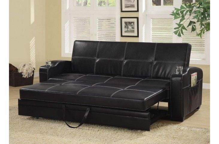 Avril Black Queen Sofa Bed Leather Sofa Bed Pull Out Sofa Bed