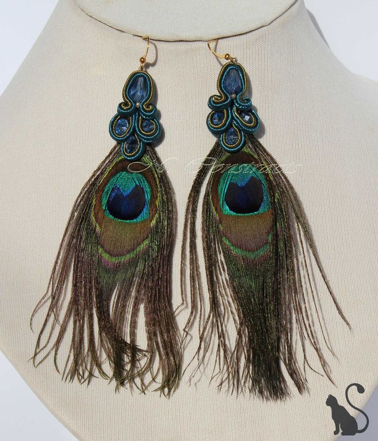 "3. Earrings ""Eastern Night"" Material: crystal beads, soutache, feathers Pauline"