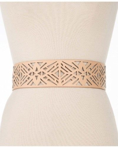 Vince Camuto Ladies Perforated Faux Leather Belt Natural Medium/Large M/L