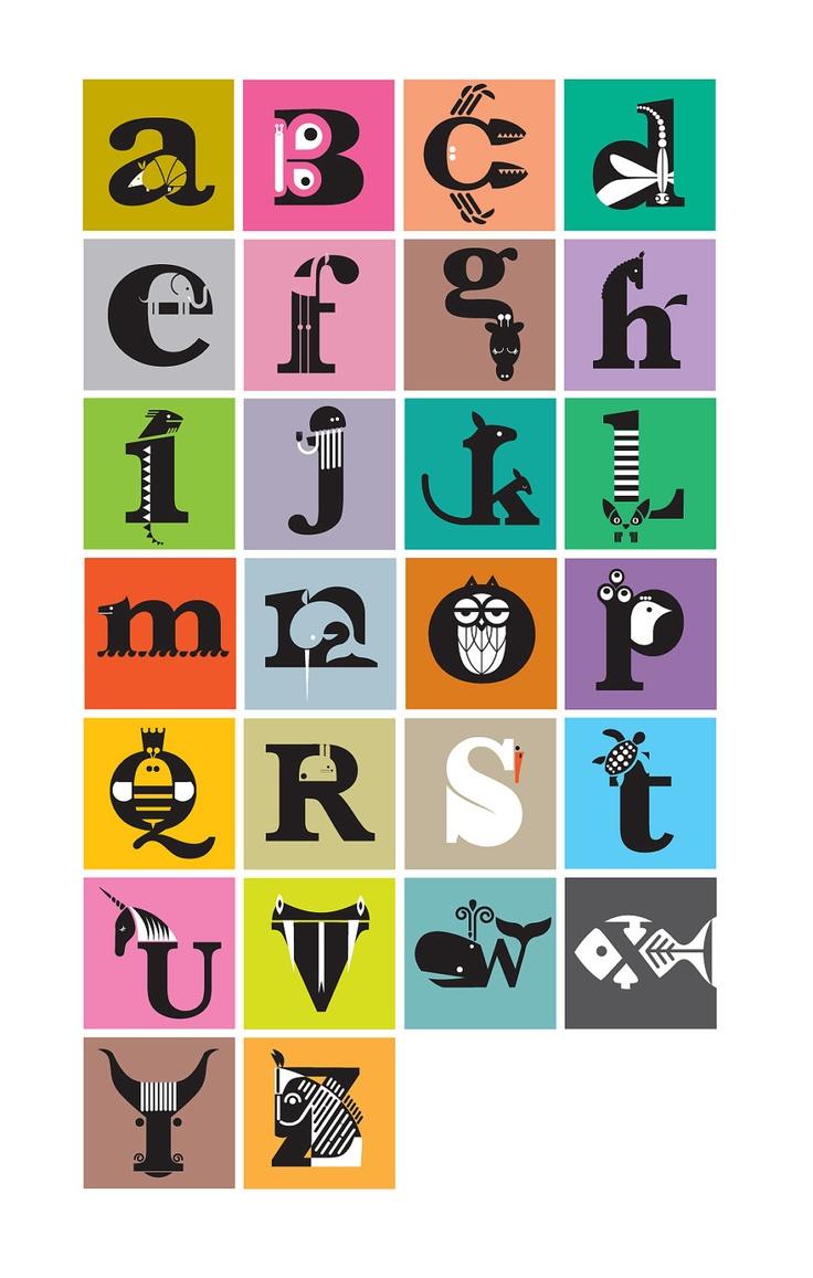 The Animal Alphabet. Large Digital print. 330 x 480 mm $22.50 // un altre abecedari amb animals, però té gràcia