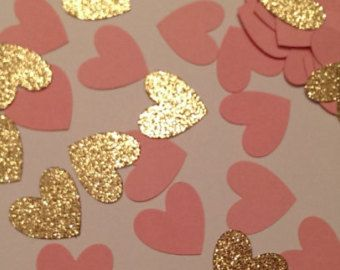 Gold and Pink Confetti Baby Shower Decor by Prettyinpinkparty