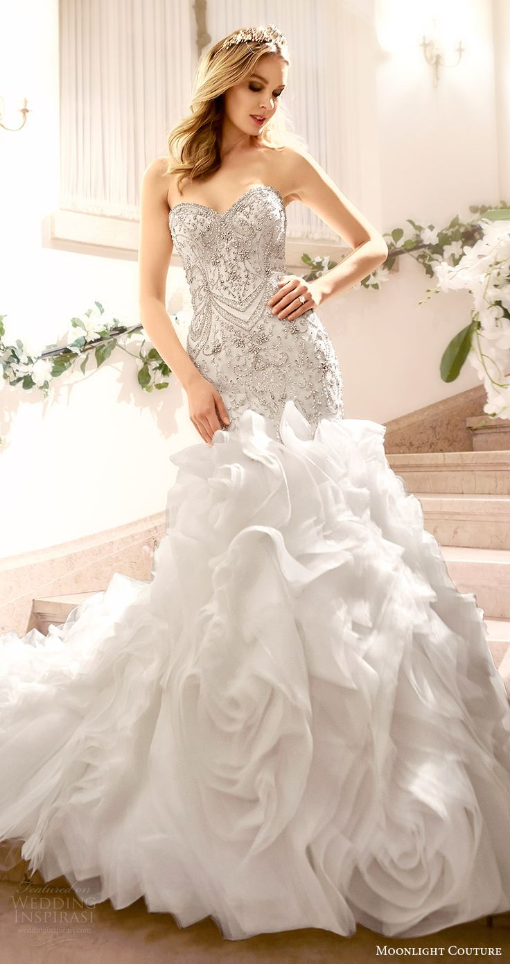 moonlight couture bridal fall 2016 strapless sweetheart beaded bodice mermaid wedding dress flange skirt (h1318) mv