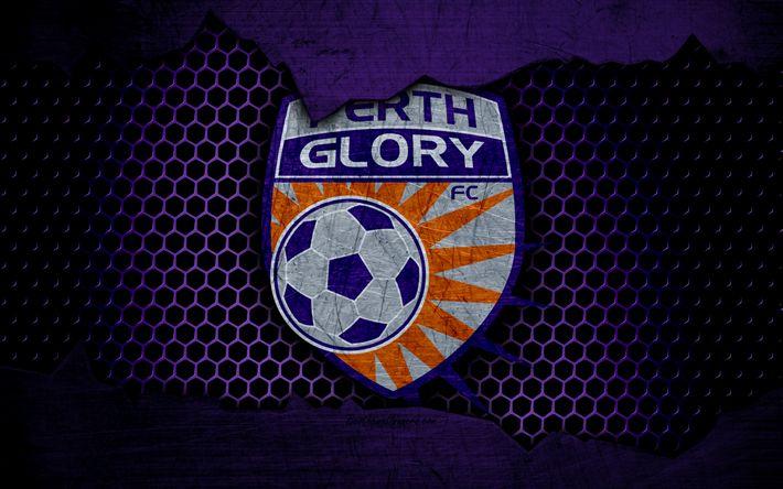 Download wallpapers Perth Glory, 4k, logo, A-League, soccer, football club, Australia, grunge, metal texture, Perth Glory FC