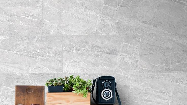 The look of marble available for both floor and wall applications, from our new Nepal series porcelain tile. Seen here in Grey.