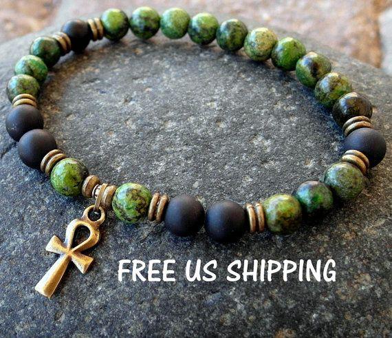 Reincarnation Men's Ankh bracelet Green by LifeForceEnergy on Etsy