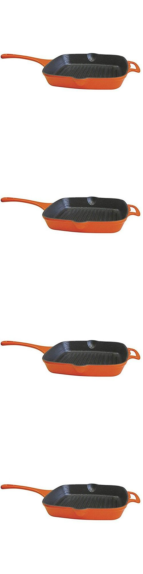 Single Piece Bright Orange Cast-Iron 10.2-Inch Grill, Cast Iron Metal Porcelain Material, Elegant Design, Heavy Duty Handle, Eliminating Hot Spot, Enamel Cookware Cleaner Hand Wash Enamel Coating