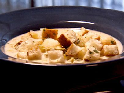 New England Clam Chowder, only change fry up 4 strips of bacon then add veggies