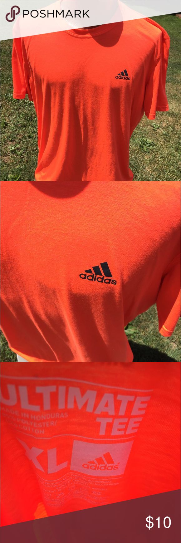 Adidas Neon Orange Mens Ultimate Tee Shirt XL Size XL. Super gently preowned. Be sure to view the other items in our closet. We offer  women's, Mens and kids items in a variety of sizes. Bundle and save!! Thank you for viewing our item!! adidas Shirts Tees - Short Sleeve