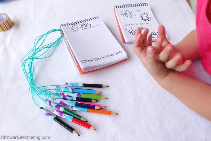 My Busy Book for Travel - free printable pages and ideas on how to keep the crayons together!