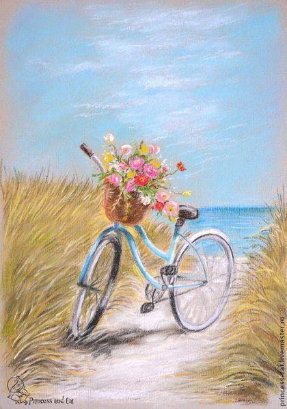 Купить или заказать Море, солнце, велосипед... в интернет-магазине на Ярмарке Мастеров. Скидка 40% (старая цена 2500 р.) Веселая, солнечная картина будет напоминать вам о теплых летних днях, проведенных у моря. Работа выполнена пастелью на пастельной бумаге. Картины отправляем оформленными в готовые рамочки, чаще всего от Икеа. Эти рамочки легкие и отлично защищают картину в пути. Так что вы получите свою покупку в идеальном состоянии.