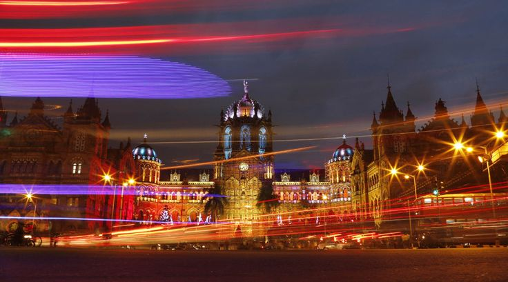 Mumbai's iconic Chhatrapati Shivaji Terminus (CST) building is illuminated in colored lights as part of India's Independence Day celebration n Mumbai, India. Independence Day is celebrated on August 15.