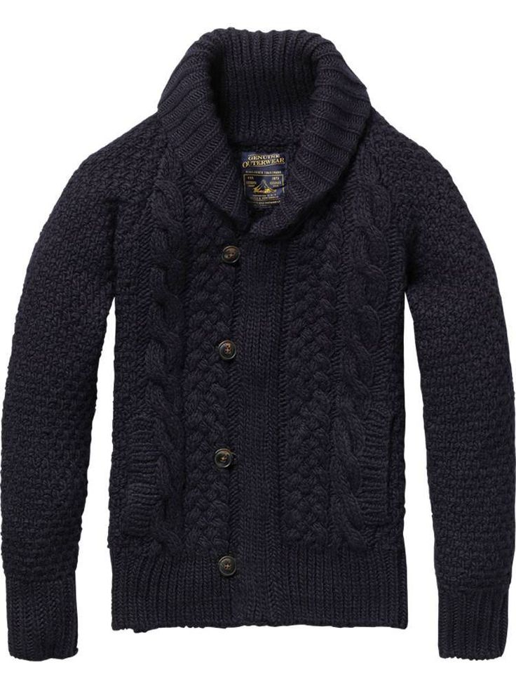 Heavy cable-knit, shawl-collar cardigan