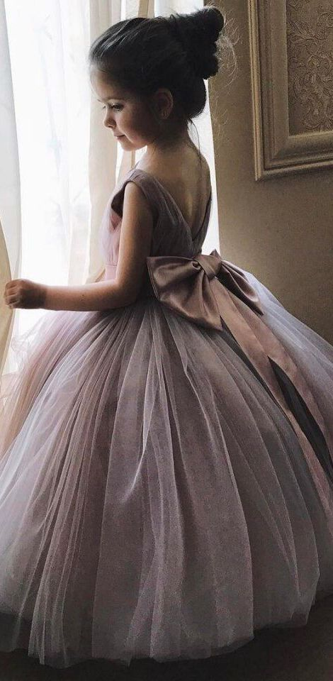 Princess ball gown for kids. Mauve Flower Girl Dresses with Bow on the  Back 89b9a38bfea3