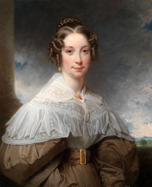 1830s Unknown artist - Portrait of a woman before a landscape