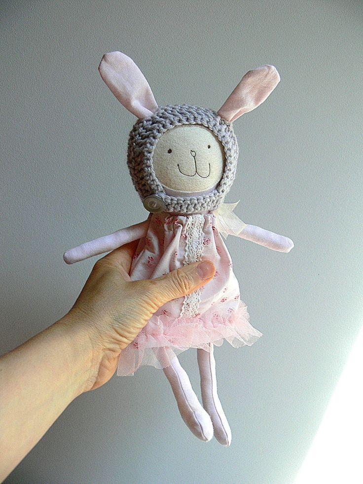 Stuffed Bunny Toy, Heirloom Bunny Doll - Giselle by MiniwerkaToys on Etsy