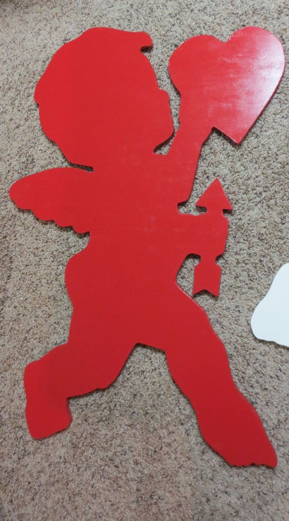 Valentine S Day Cupid Silhouette Pair Wood Outdoor By