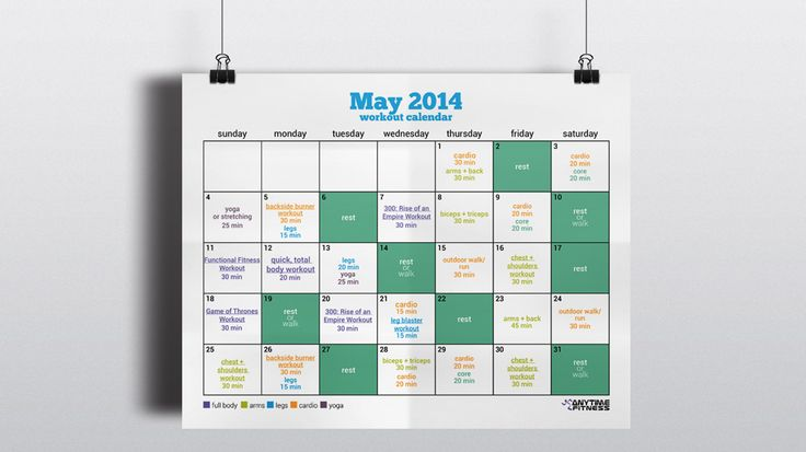 May 2014 Workout Calendar and Schedule. Plus 8 new workouts to try!
