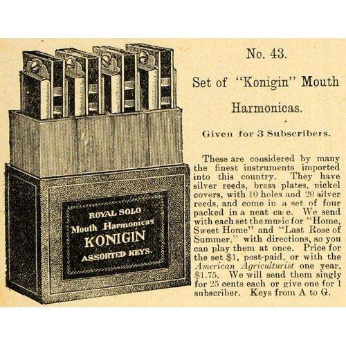 1890 Ad Konigin Harmonica Set No. 43 Subscription Gift