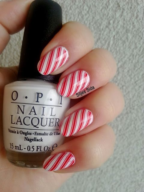 Candy Cane nails, OPI - Alpine Snow, Konads stamping polish red and Bundle monster BM-423