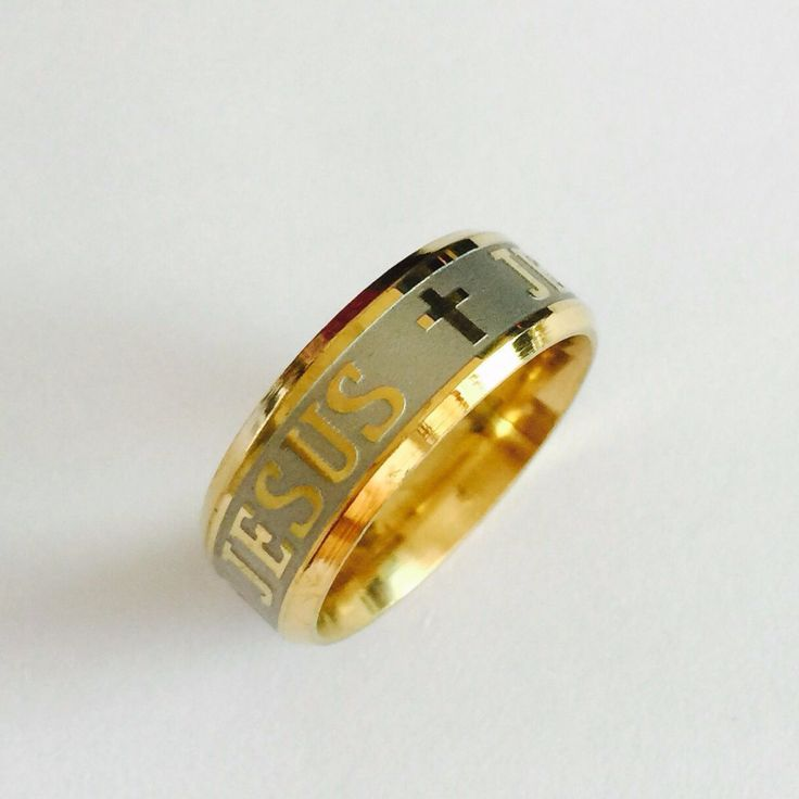High quality large men women gold sliver Ion plating genuine pure 8mm titanium mens fashion Juses cross prayer rings * To view further for this item, visit the image link.