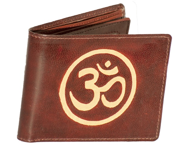 A high quality leather wallet with the 'OM 'Symbol hand drawn on the outside. Hand made and hand drawn. Such things are rare.