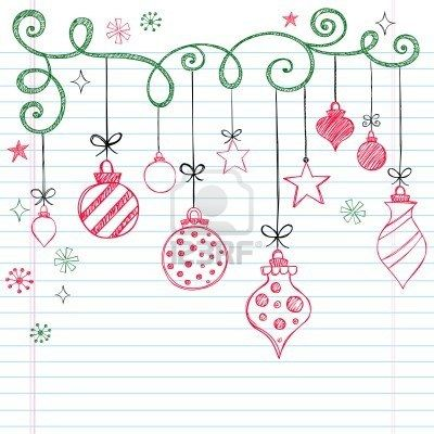Hand-Drawn Christmas Tree Ornaments Sketchy Notebook Doodles- Illustration Design Elements on Lined Sketchbook Paper Background  Stock Photo...