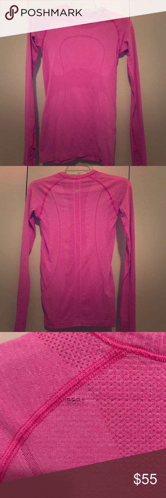 Lululemon run swiftly tech long sleeve!! *****Clearance Sale***** Super cute!! Tiny defect (shown in picture) otherwise perfect all around. Not really noticeable once on. Price Firm!! CLEARANCE sale lululemon athletica Tops Tees - Long Sleeve