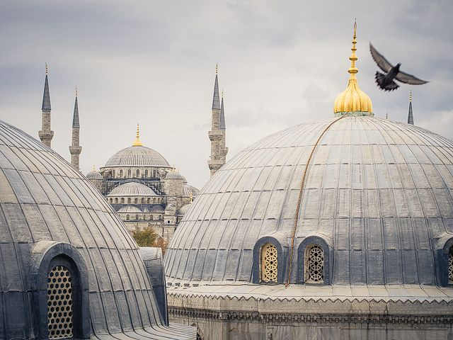 Blue mosque as seen from Hagia Sofia by miemo, via Flickr