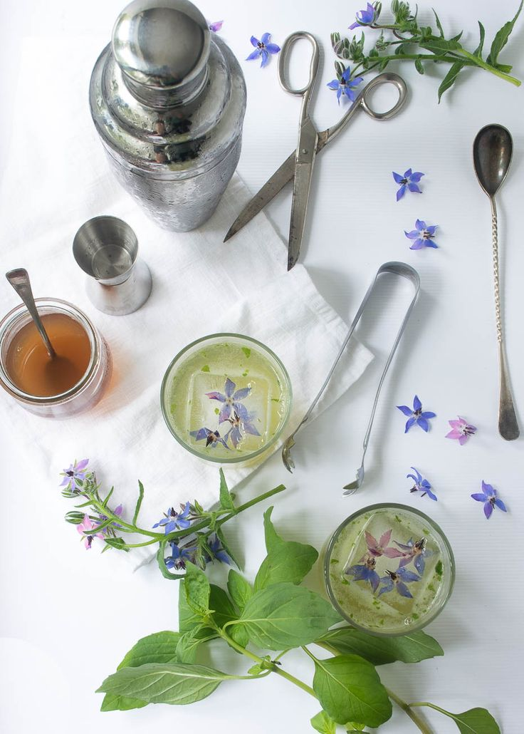 Garden gimlet with borage and basil