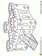 Coloriage de chateaux du moyen âge sur Hugolescargot.com