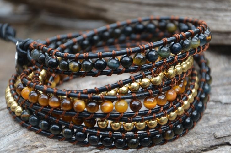 handmade leather wrap bracelet blue and brown tiger eye with copper stone era, manon tremblay