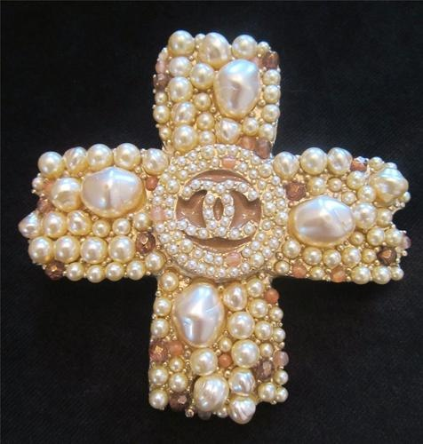 Authenthic Chanel Large Gripoix Pearl Gold Cross Brooch from The Strathmore Store on ebay