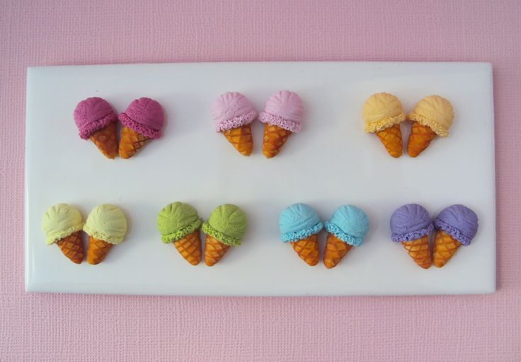Ice Cream Stud Earrings Polymer Clay // Dessert by MyMiniMunchies