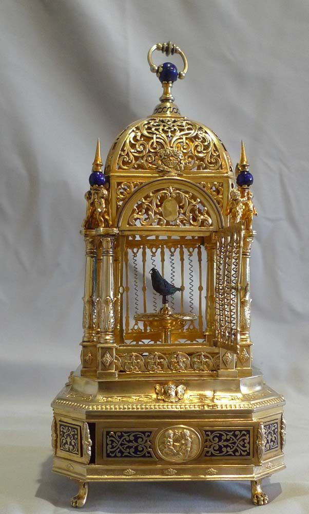 Antique Silver gilt and enamel singing bird cage. -  German or Austro-Hungarian  c.1910