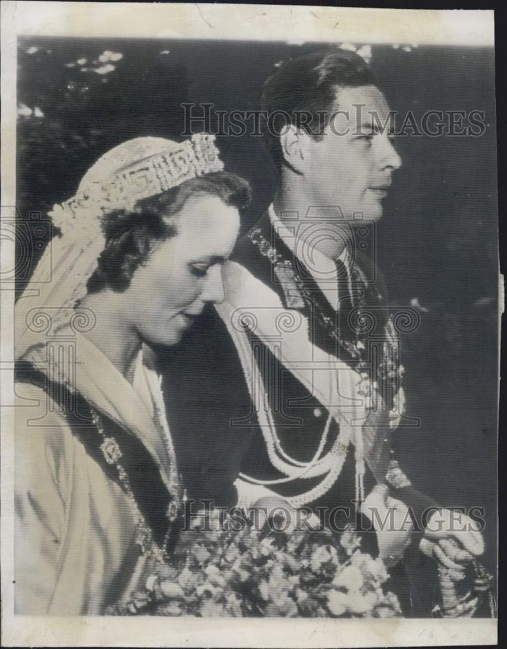 Queen Helen's son, Michael I passed the greek key tiara onto his bride, Anne of Bourbon-Parma, when they wed on 10 June 1948