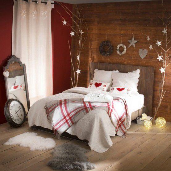 Camera da letto rustica natalizia